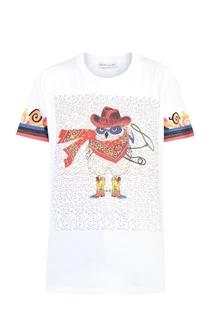 Белая футболка с принтом Etro