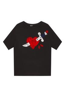Черная футболка с принтом Drykorn
