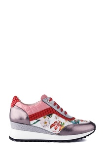 Кожаные кроссовки с цветочным принтом School 77