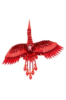 Брошь «Журавль» красного цвета Nebo