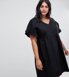 Свободное хлопковое платье мини с V-образным вырезом спереди и сзади ASOS DESIGN Curve - Черный