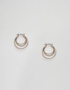 Золотистые серьги с двойными кольцами Nylon - Золотой