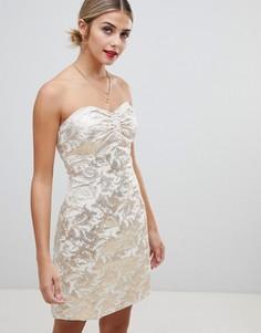 Жаккардовое платье-бандо Glamorous - Золотой
