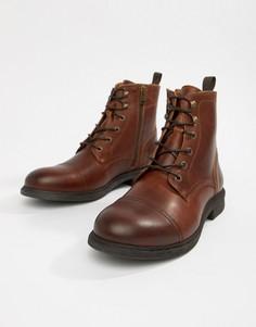 Кожаные ботинки на шнуровке Selected Homme - Коричневый