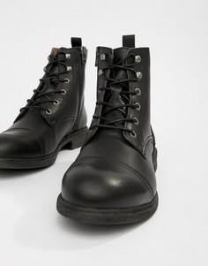 Кожаные ботинки на шнуровке с носком Selected Homme - Черный