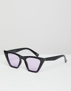 Черные солнцезащитные очки кошачий глаз с сиреневыми стеклами ASOS DESIGN - Фиолетовый