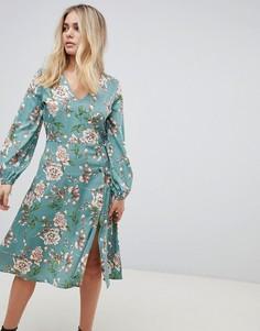 Платье миди с цветочным принтом и пуговицами Influence - Зеленый