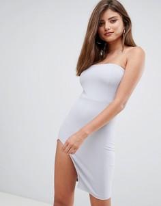 Платье-бандо мини с разрезом сбоку AX Paris - Серебряный