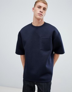 Темно-синяя oversize-футболка с короткими рукавами и карманом ASOS DESIGN - Темно-синий