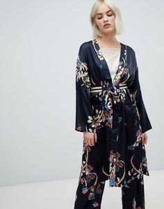 Платье с запахом и цветочным принтом Pepe Jeans Harpers - Темно-синий
