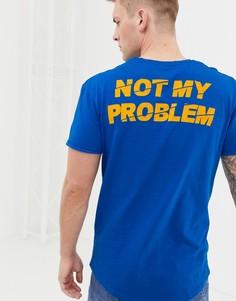 Длинная футболка с карманом и принтом на спине Jack and Jones Originals - Синий