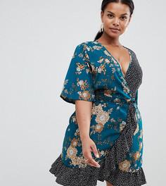 Платье с запахом, цветочным узором и принтом в горошек Missguided Plus - Зеленый