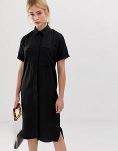 Льняное платье-рубашка миди в стиле casual ASOS DESIGN - Черный