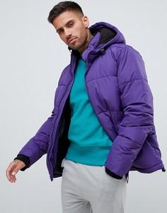 Фиолетовая дутая куртка с капюшоном River Island - Фиолетовый