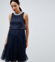 Двухслойное платье миди из тюля ASOS DESIGN Maternity - Темно-синий