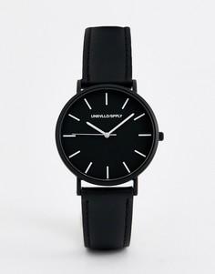 Монохромные часы с ремешком из искусственной кожи ASOS DESIGN - Черный