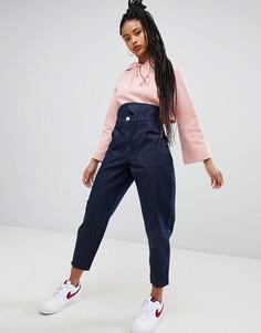 Синие джинсы бойфренда с корсетной вставкой ASOS DESIGN - Синий
