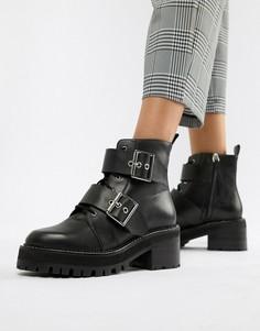 Массивные кожаные ботинки с пряжкой ASOS DESIGN Rebellion - Черный
