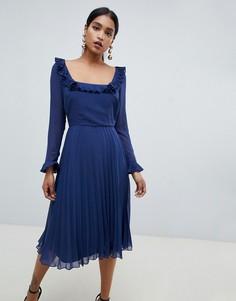 Плиссированное платье миди с длинными рукавами ASOS DESIGN - Темно-синий