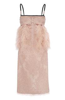 Платье-комбинация с перьевой отделкой No. 21
