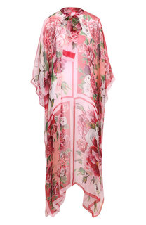 Шелковая туника с принтом и воротником аскот Dolce & Gabbana