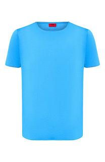 Хлопковая футболка с круглым вырезом HUGO