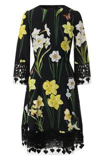 Приталенное платье с принтом и кружевной отделкой Dolce & Gabbana