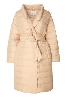 Бежевое пуховое пальто с поясом Akhmadullina Dreams