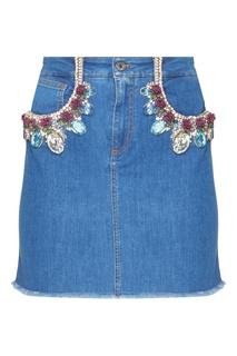 Джинсовая юбка с отделкой кристаллами Dolce & Gabbana