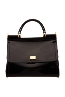 Черная лакированная сумка Sicily Dolce & Gabbana