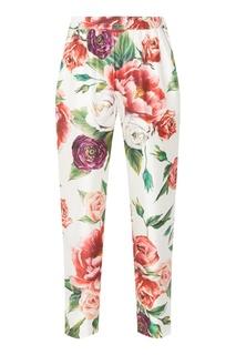 Шелковые брюки с принтом роз Dolce & Gabbana