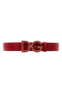 Бордовый кожаный ремень с кристаллами Dolce & Gabbana