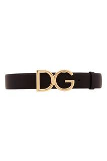 Черный ремень из зерненой кожи Dolce & Gabbana