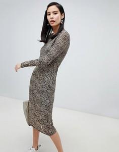 Платье миди с длинными рукавами и леопардовым принтом Glamorous - Коричневый