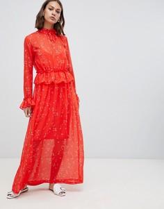 Платье макси с принтом и оборкой на талии Minimum - Мульти