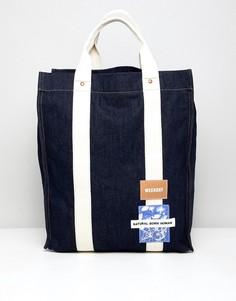 Джинсовая сумка-тоут ограниченной серии Weekday - Синий