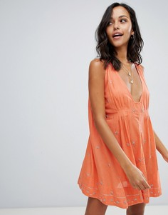 Платье с отделкой Free People - Оранжевый