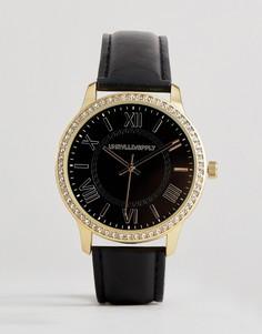 Черно-золотистые часы с римскими цифрами и кристаллами ASOS DESIGN - Черный