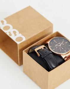 Подарочный набор: часы со съемными ремешками цвета розового золота ASOS DESIGN - Золотой