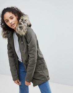 Пальто-парка с искусственным мехом на капюшоне Only Macy - Черный