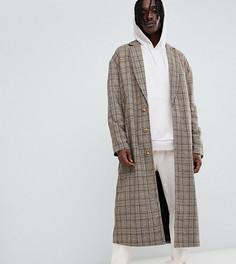 Коричневое удлиненное пальто в клетку The New County - Коричневый