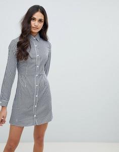 Короткое приталенное платье-рубашка Glamorous - Черный