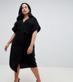 Платье миди с запахом ASOS DESIGN Curve - Черный