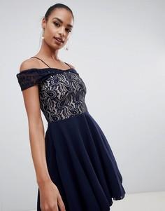 5e6bd0a42e3 Темно-синее кружевное платье с открытыми плечами AX Paris - Темно-синий