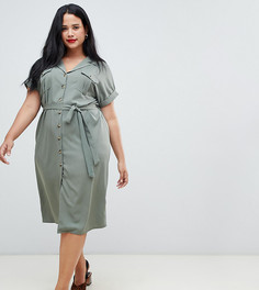 Платье в стиле милитари на пуговицах New Look Curve - Зеленый