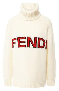 Шерстяной пуловер с вышитым логотипом бренда Fendi