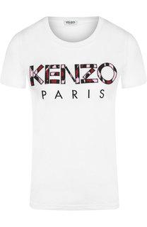 Хлопковая футболка с круглым вырезом и логотипом бренда Kenzo