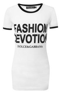Хлопковая футболка с надписями Dolce & Gabbana