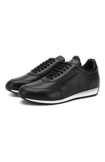 Кожаные кроссовки на шнуровке с отделкой из кожи аллигатора Billionaire