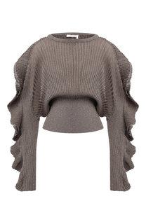 Вязаный пуловер с оборками и металлизированной нитью Chloé